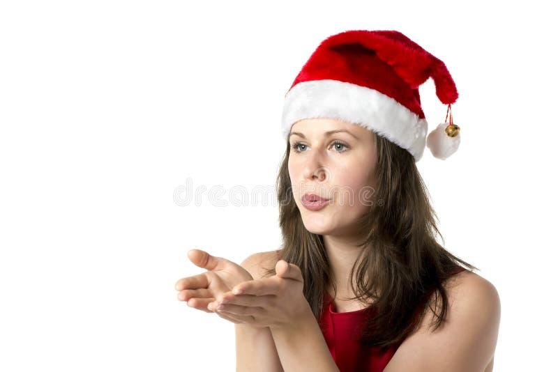 Γυναίκα Santa με τα χέρια στο πρόσωπο στοκ φωτογραφίες