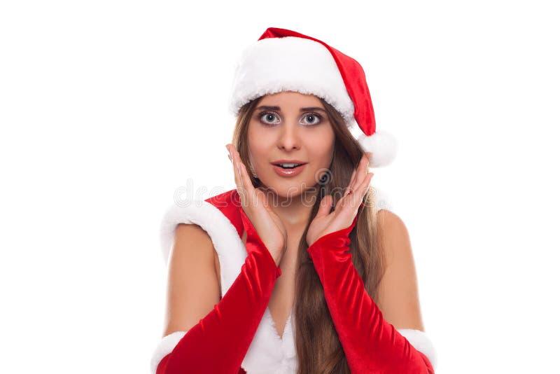 γυναίκα santa τσαντών Ομορφιάς κορίτσι στο καπέλο Santa που απομονώνεται πρότυπο στο μόριο στοκ εικόνες