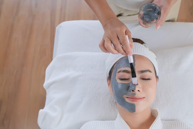 Γυναίκα SPA που εφαρμόζει την του προσώπου μάσκα αργίλου στοκ φωτογραφία με δικαίωμα ελεύθερης χρήσης