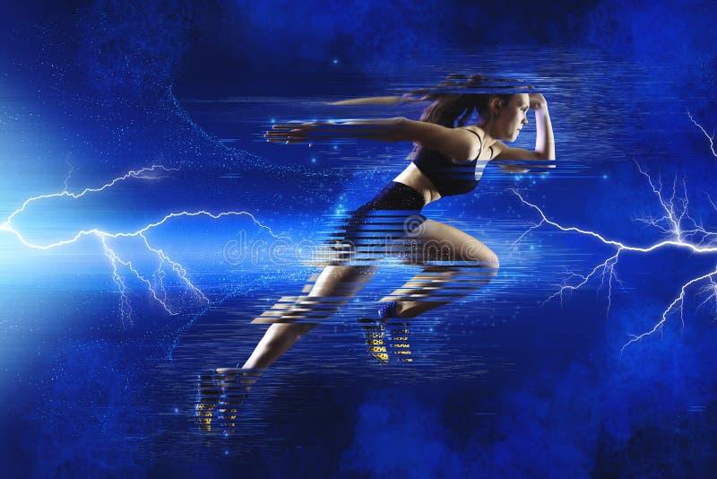 Γυναίκα sprinter που αφήνει την έναρξη στοκ φωτογραφία με δικαίωμα ελεύθερης χρήσης