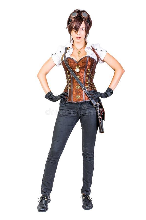 Γυναίκα Steampunk που φορά τον εκλεκτής ποιότητας κορσέ και τα προστατευτικά δίοπτρα στοκ εικόνα με δικαίωμα ελεύθερης χρήσης