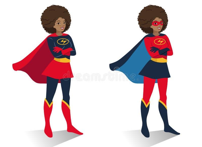 Γυναίκα superhero αφροαμερικάνων στη στάση κοστουμιών και μασκών ελεύθερη απεικόνιση δικαιώματος