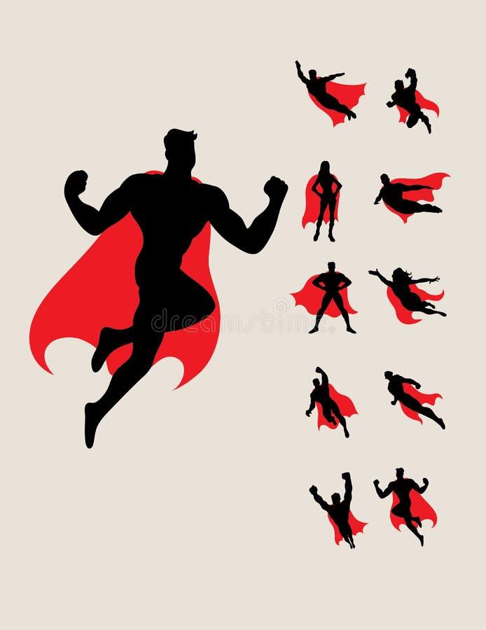 γυναίκα superhero σκιαγραφιών αν&de διανυσματική απεικόνιση