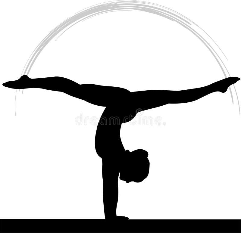γυναίκες γυμναστικής s ακτίνων ισορροπίας διανυσματική απεικόνιση