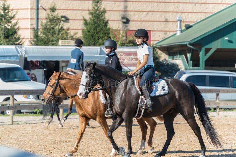 Γυναίκες Ιππασία ιππεύουν στην αρένα Showplace, Άνω Marlboro, Maryland στοκ εικόνες