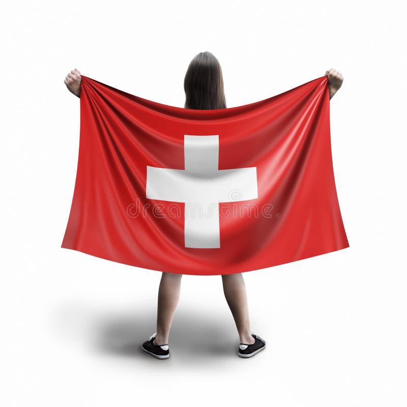 Γυναίκες και ελβετική σημαία ελεύθερη απεικόνιση δικαιώματος