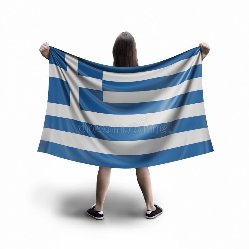 Γυναίκες και ελληνική σημαία ελεύθερη απεικόνιση δικαιώματος