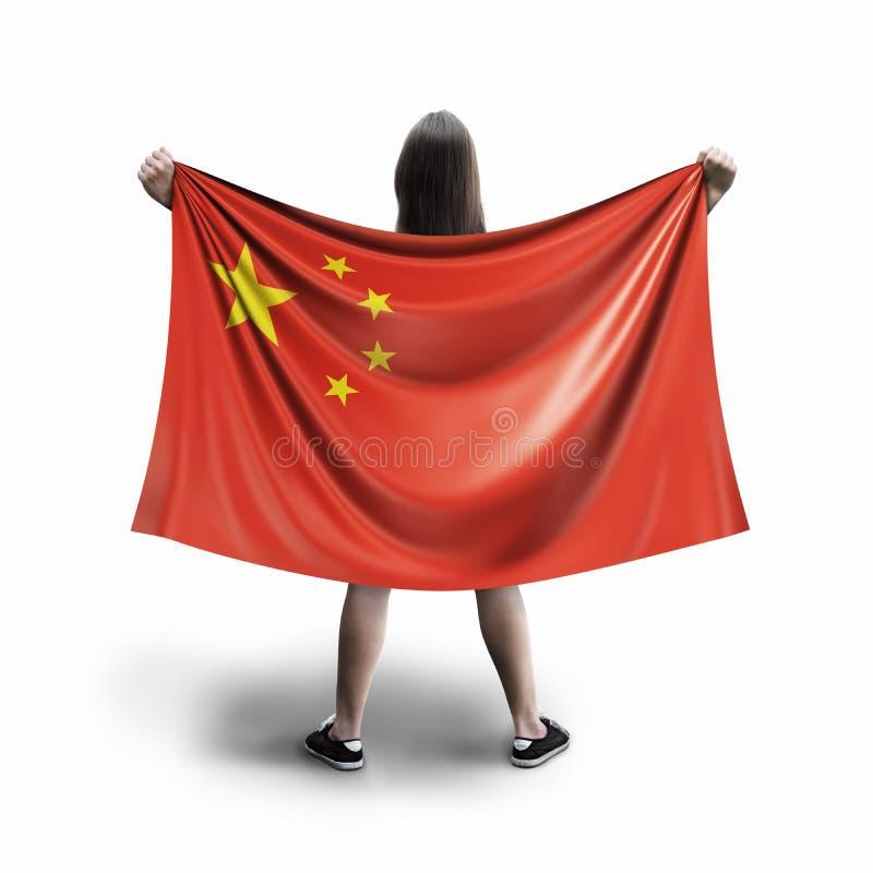 Γυναίκες και κινεζική σημαία στοκ εικόνα