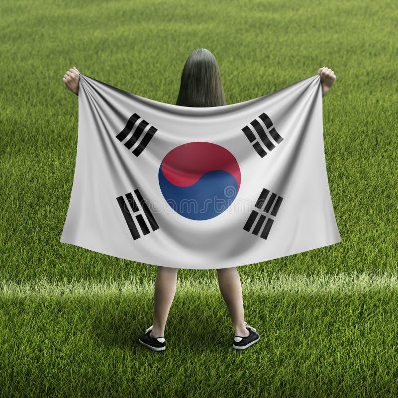 Γυναίκες και νοτιοκορεατική σημαία ελεύθερη απεικόνιση δικαιώματος