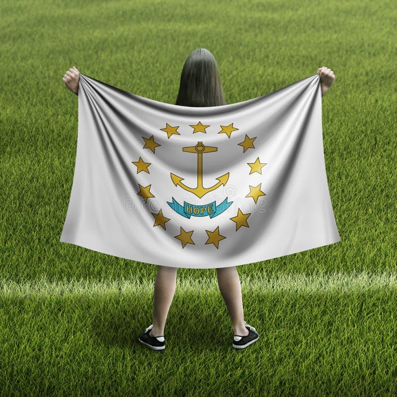 Γυναίκες και σημαία Ρόουντ Άιλαντ απεικόνιση αποθεμάτων
