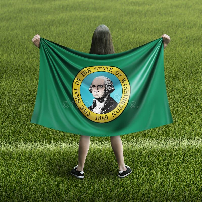 Γυναίκες και σημαία της Ουάσιγκτον διανυσματική απεικόνιση