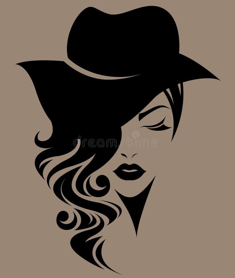 Γυναίκες μακρυμάλλεις με ένα καπέλο, πρόσωπο γυναικών λογότυπων στο καφετί υπόβαθρο απεικόνιση αποθεμάτων