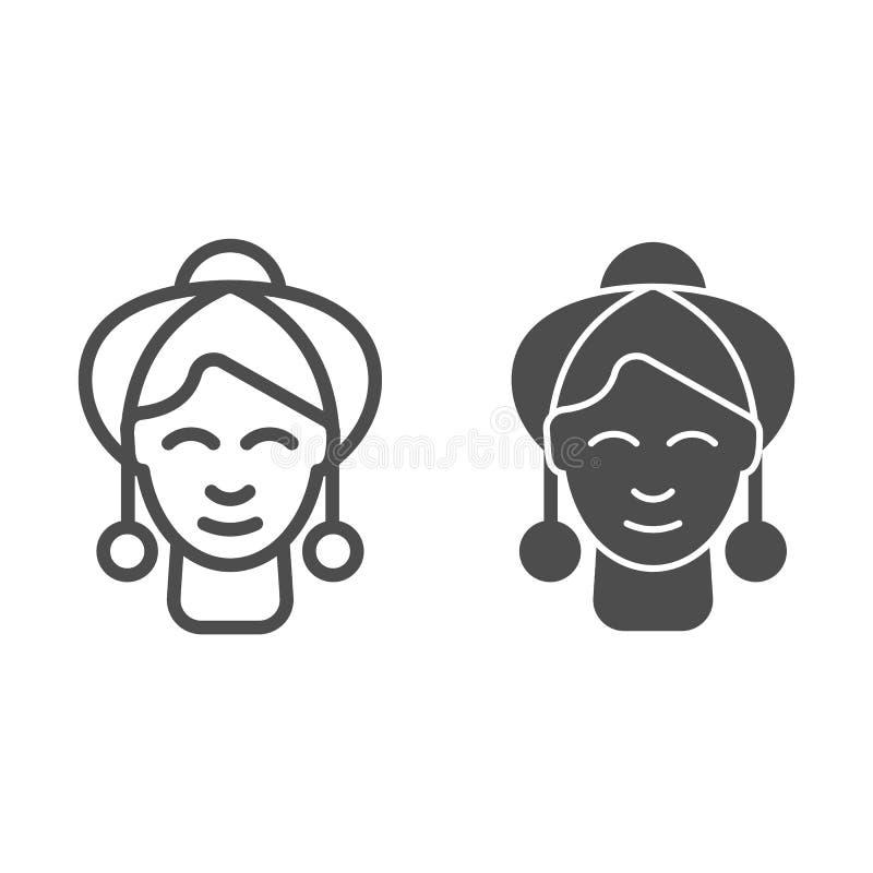 Γυναίκες με τη γραμμή και glyph το εικονίδιο σκουλαρικιών Κοριτσιών κοσμήματος απεικόνιση που απομονώνεται διανυσματική στο λευκό διανυσματική απεικόνιση