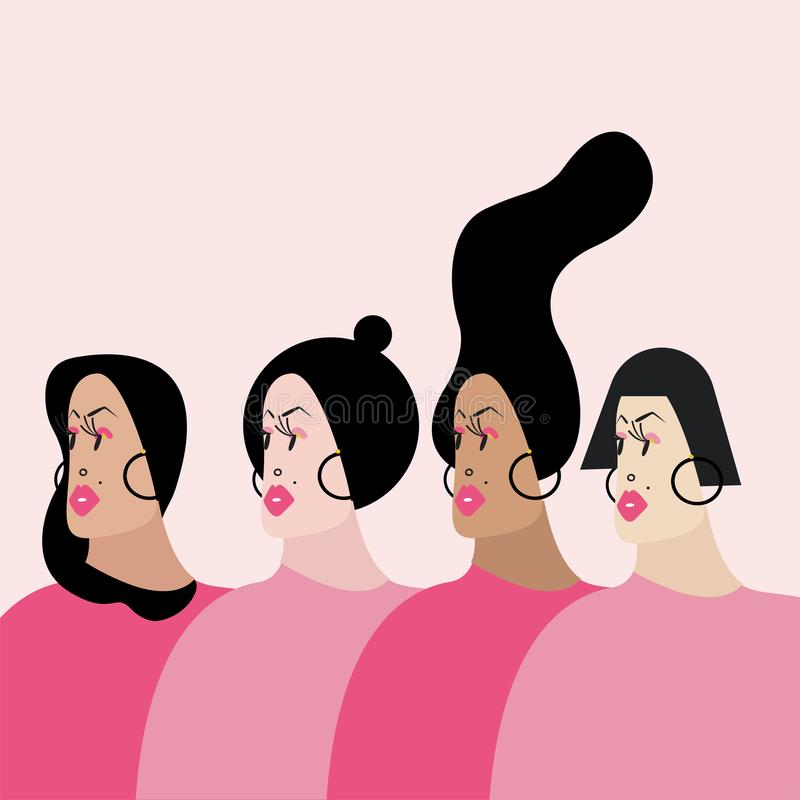 Γυναίκες με τη διανυσματική απεικόνιση διάφορων hairstyles διανυσματική απεικόνιση