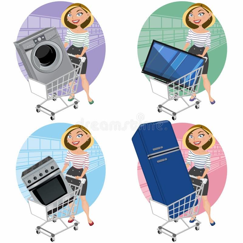 Γυναίκες με τις συσκευές στο κάρρο αγορών απεικόνιση αποθεμάτων