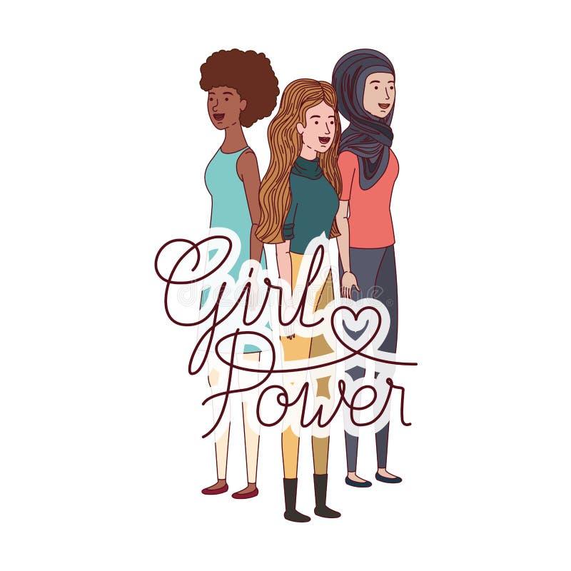Γυναίκες με το χαρακτήρα δύναμης κοριτσιών ετικετών διανυσματική απεικόνιση