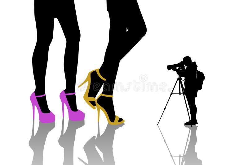 Γυναίκες μόδας πυροβολισμού φωτογράφων διανυσματική απεικόνιση