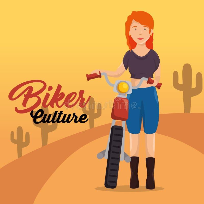 Γυναίκες ποδηλατών πολιτισμού ποδηλατών που οδηγούν τη μοτοσικλέτα διανυσματική απεικόνιση