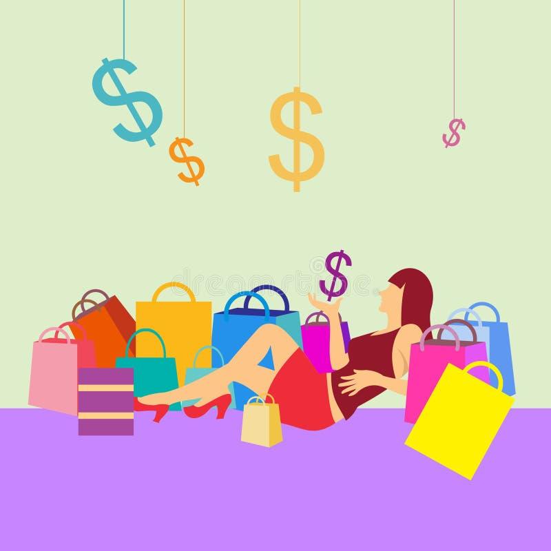 Γυναίκες που κάθονται με τις τσάντες εικονιδίων και αγορών δολαρίων στοκ εικόνες με δικαίωμα ελεύθερης χρήσης