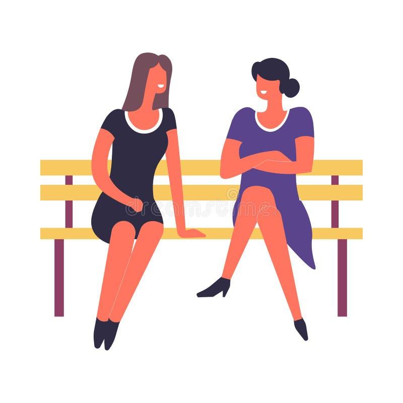 Γυναίκες που κάθονται στον πάγκο που μιλά και που συζητά κάτι διανυσματικό διανυσματική απεικόνιση
