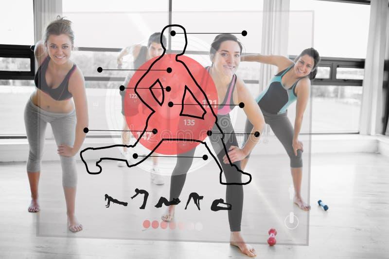 Γυναίκες που κάνουν την άσκηση με τη φουτουριστική κόκκινη επίδειξη διεπαφών απεικόνιση αποθεμάτων