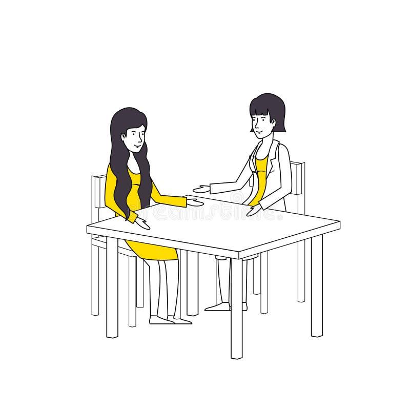 Γυναίκες που μιλούν στους χαρακτήρες επιτραπέζιων ειδώλων απεικόνιση αποθεμάτων