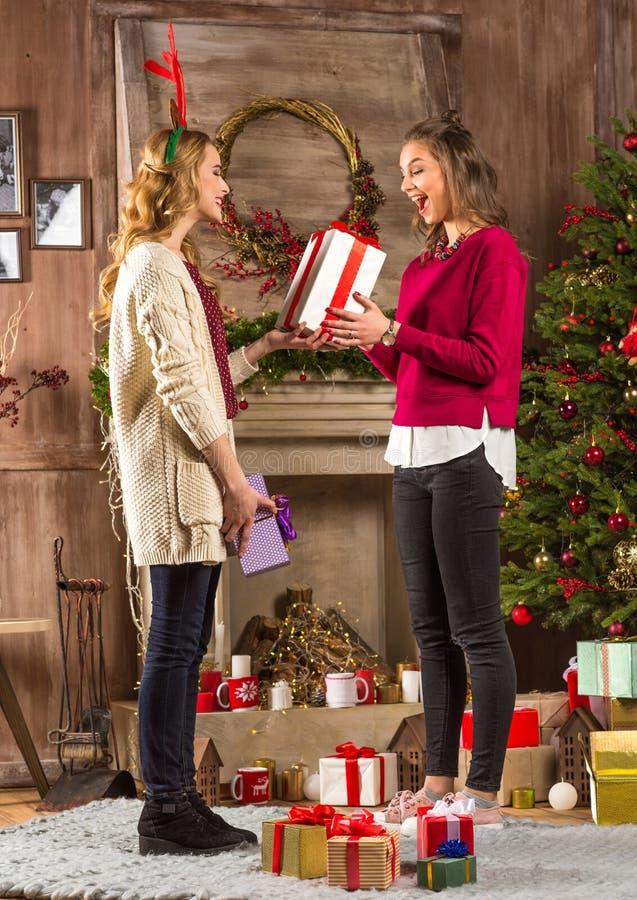 Γυναίκες που μοιράζονται τα χριστουγεννιάτικα δώρα στοκ φωτογραφία με δικαίωμα ελεύθερης χρήσης
