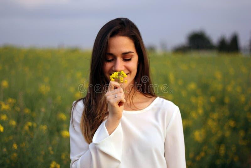 Γυναίκες που μυρίζουν το κίτρινο λουλούδι στον κίτρινο τομέα λουλουδιών στοκ εικόνες