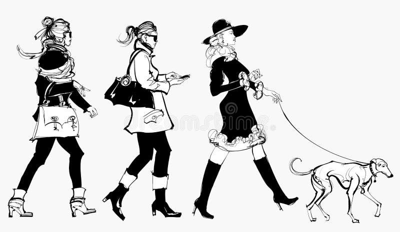 Γυναίκες που περπατούν σε μια οδό ελεύθερη απεικόνιση δικαιώματος