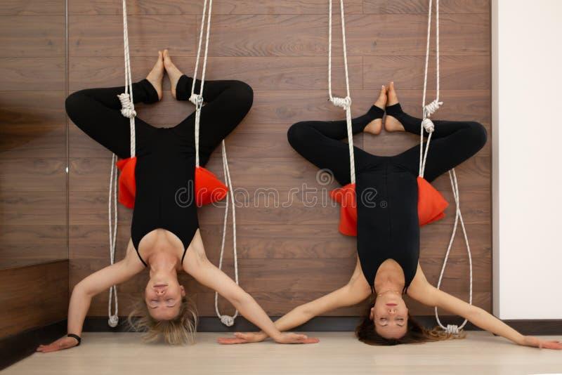 Γυναίκες που στέκονται την άνω πλευρά - κάτω από την άσκηση της γιόγκας στα σχοινιά που τεντώνει στη γυμναστική Τρόπος ζωής τακτο στοκ εικόνα