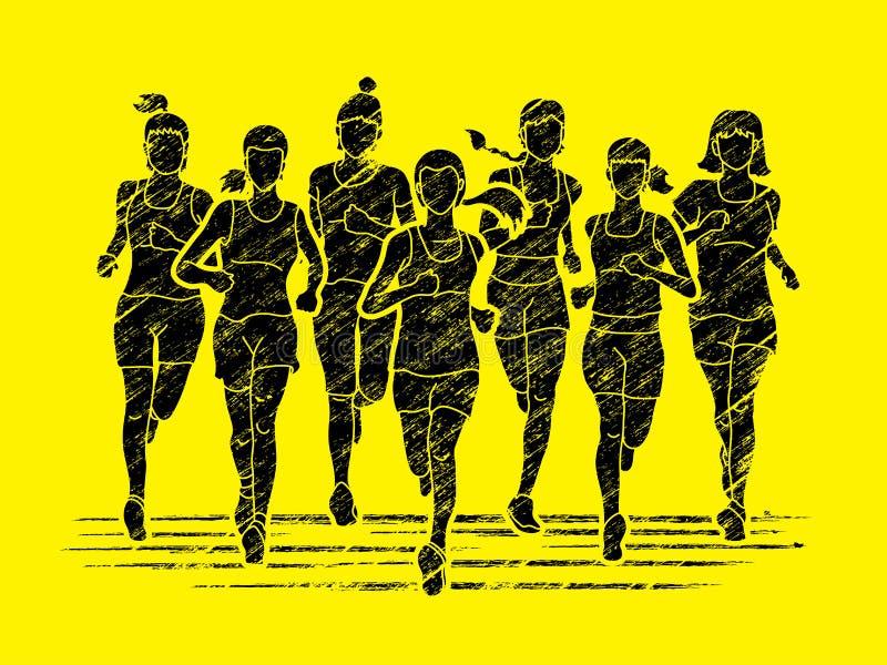 Γυναίκες που τρέχουν, δρομείς μαραθωνίου, τρέξιμο ομάδας ανθρώπων απεικόνιση αποθεμάτων