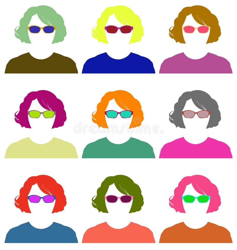 Γυναίκες σκιαγραφιών όλων των χρωμάτων διάνυσμα 1 διανυσματική απεικόνιση