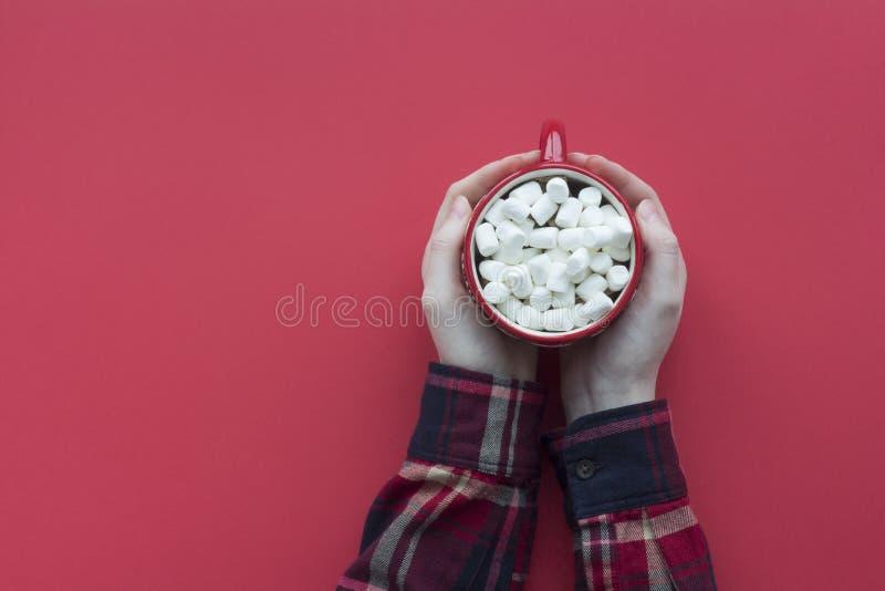 Γυναίκες χεράκια κρατούν κακάο με ζαχαρωτό στο κόκκινο φόντο Κορυφαία εμφάνιση ζεστής χειμερινής κάρτας στοκ φωτογραφία με δικαίωμα ελεύθερης χρήσης