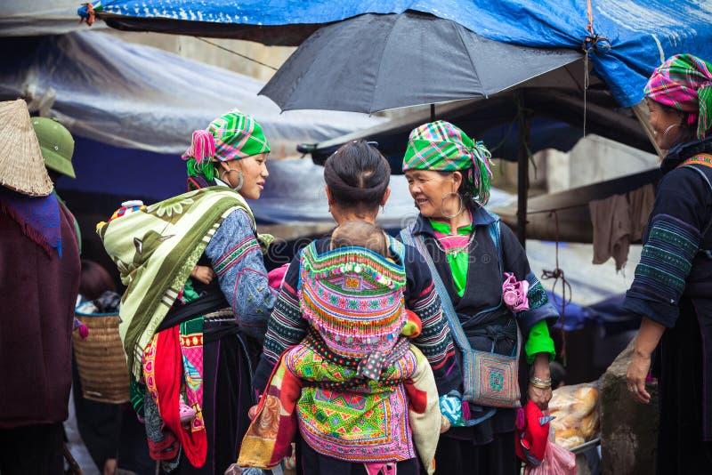 Γυναίκες Hmong με το μωρό στα εθνικά ενδύματα, Βιετνάμ στοκ εικόνες με δικαίωμα ελεύθερης χρήσης