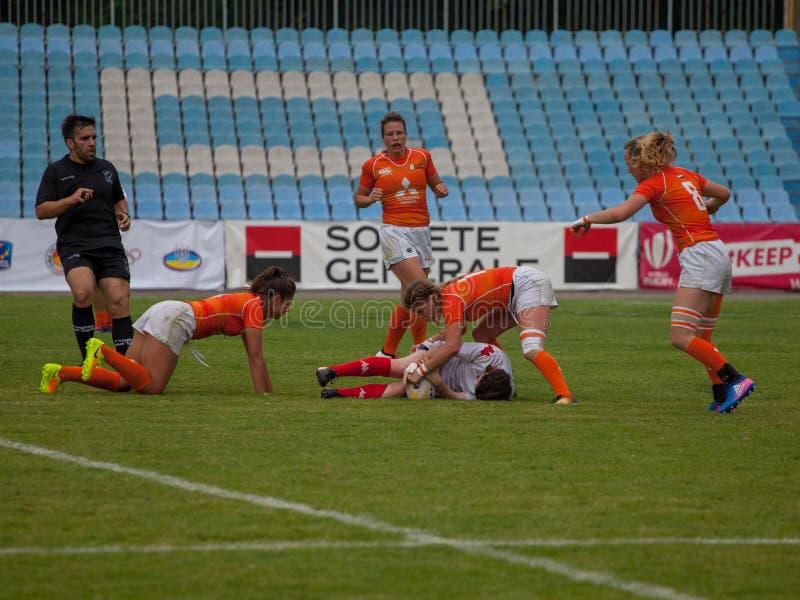 Γυναίκες Sevens της Ευρώπης ράγκμπι στοκ εικόνα