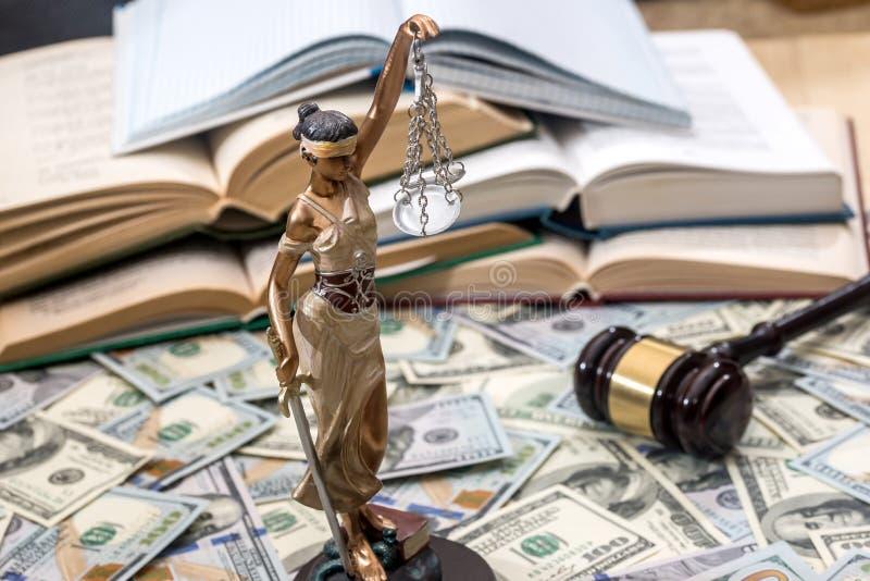 Γυναικεία δικαιοσύνη ή themis, βιβλίο και gavel στους λογαριασμούς δολαρίων στοκ εικόνες με δικαίωμα ελεύθερης χρήσης