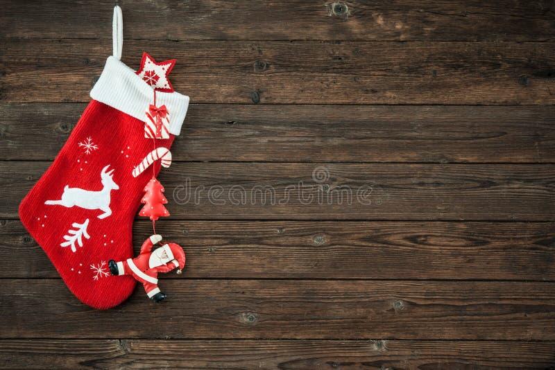 Γυναικεία κάλτσα διακοσμήσεων Χριστουγέννων στοκ εικόνα