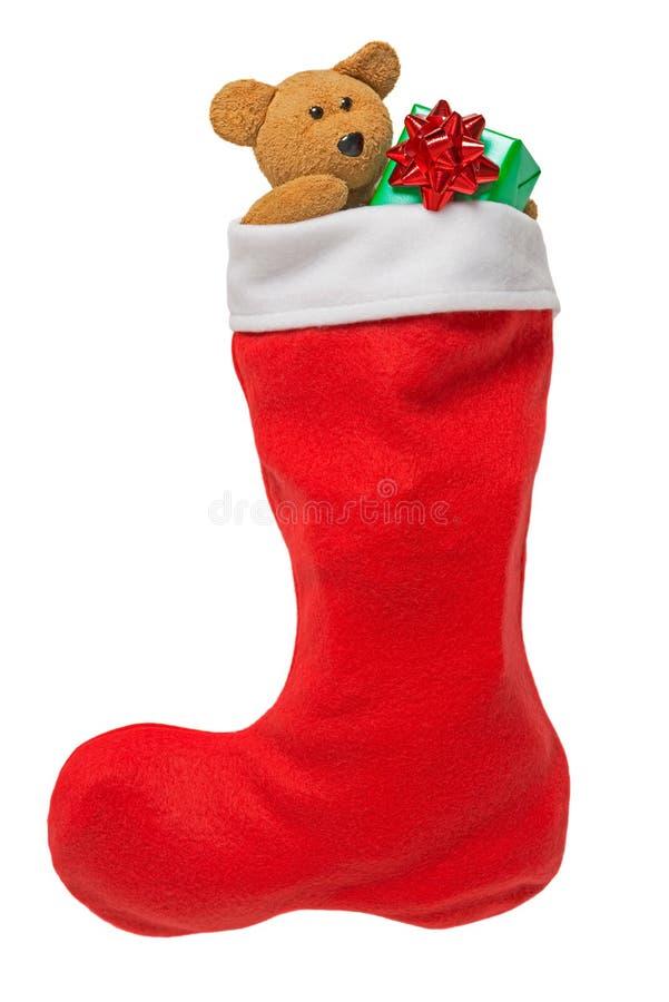 Γυναικεία κάλτσα Χριστουγέννων που απομονώνεται στο λευκό στοκ εικόνα με δικαίωμα ελεύθερης χρήσης