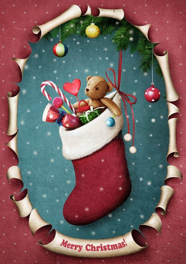 Γυναικεία κάλτσα Χριστουγέννων απεικόνιση αποθεμάτων
