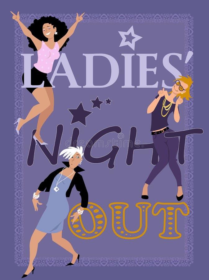 Γυναικεία νύχτα έξω διανυσματική απεικόνιση