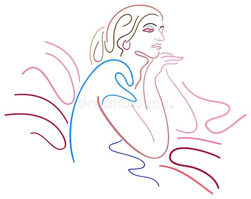 γυναικεία σκέψη διανυσματική απεικόνιση