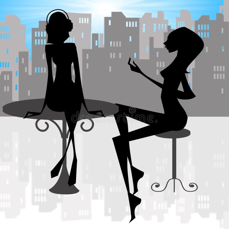 γυναικεία χαλάρωση πόλε&ome διανυσματική απεικόνιση