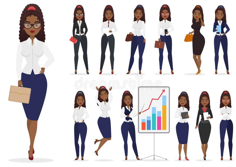 Γυναικείος χαρακτήρας επιχειρηματιών αφροαμερικάνων ο μαύρος διαφορετικός θέτει το σύνολο σχεδίου Διανυσματικό θηλυκό σχέδιο κινο διανυσματική απεικόνιση