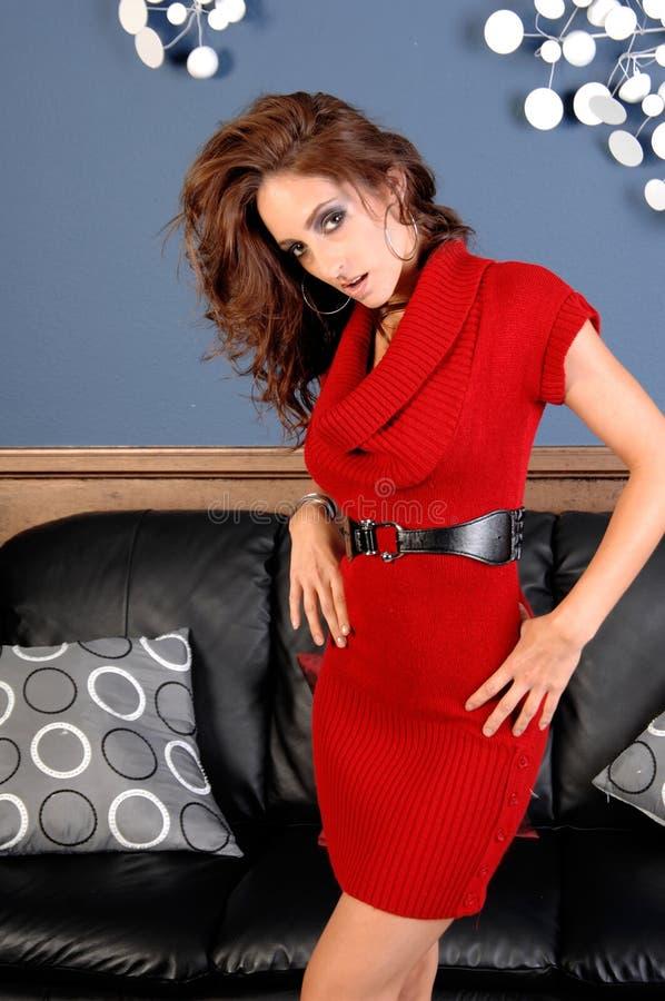 γυναικείο κόκκινο φορεμάτων στοκ εικόνες