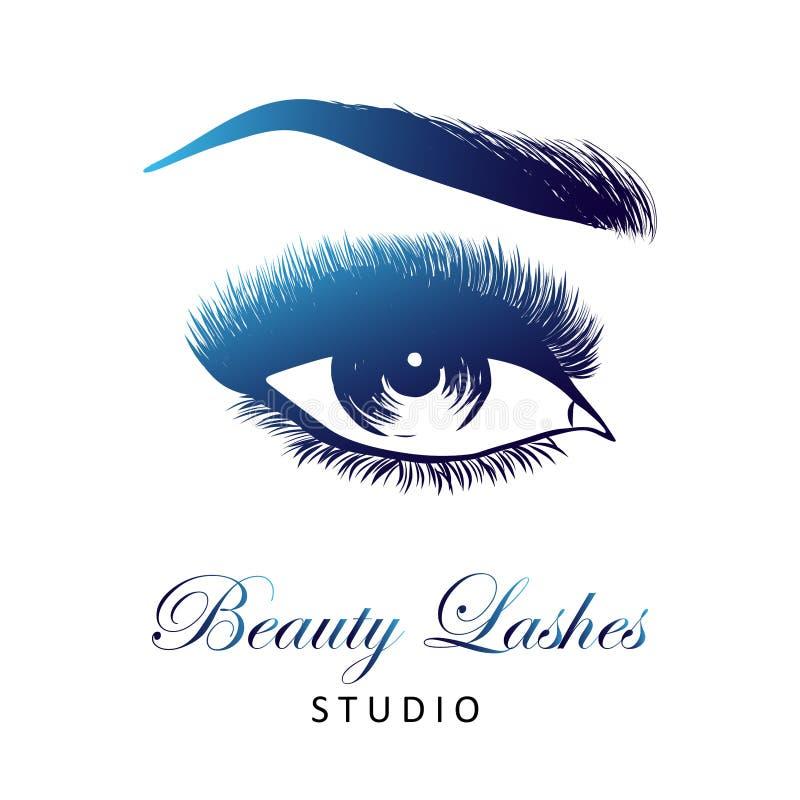 Γυναικείο μοντέρνο μάτι και brows με τα πλήρη μαστίγια απεικόνιση αποθεμάτων