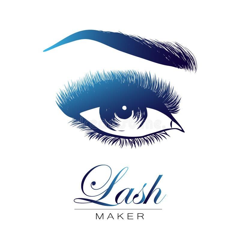 Γυναικείο μοντέρνο μάτι και brows με τα πλήρη μαστίγια διανυσματική απεικόνιση