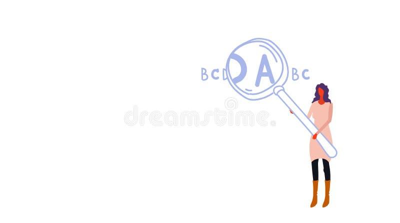 Γυναικών εκμετάλλευσης ενισχύοντας ζουμ γυαλιού κορίτσι έννοιας επιστολών μεγεθύνοντας με το πιό magnifier σύνολο χαρακτήρα κινου διανυσματική απεικόνιση