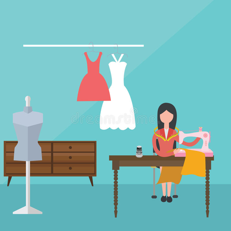 Γυναικών θηλυκή ράβοντας μηχανών φορεμάτων ραφτών μοδίστρα μόδας υφάσματος ενδυμάτων υλική διανυσματική απεικόνιση