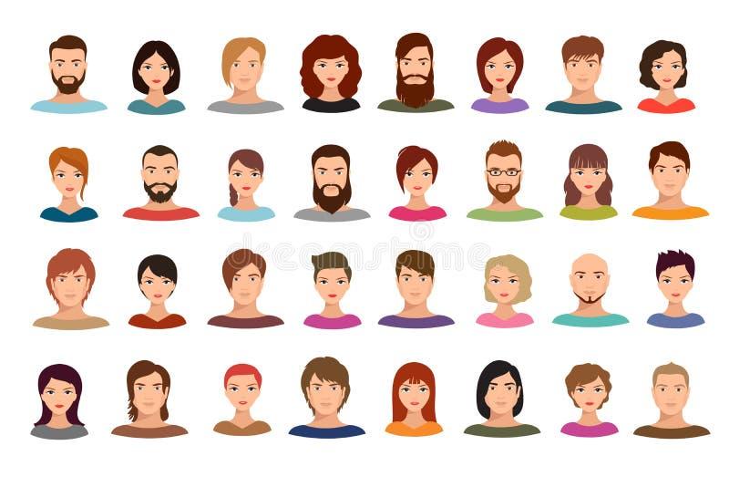 Γυναικών και ανδρών επιχειρηματιών ομάδων διανυσματικά πορτρέτα σχεδιαγράμματος ειδώλων αρσενικά και θηλυκά που απομονώνονται ελεύθερη απεικόνιση δικαιώματος