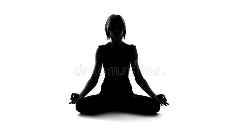 Γυναικών στο λωτό θέτει, υγιής τρόπος ζωής, σώμα και η αρμονία ψυχής, χαλαρώνει στοκ φωτογραφίες με δικαίωμα ελεύθερης χρήσης